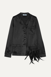 Prada Embellished feather-trimmed satin shirt