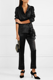 Embellished feather-trimmed satin shirt