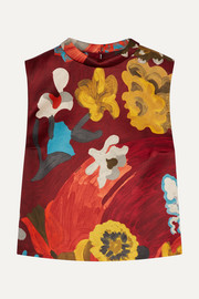 Printed wool and silk-blend top
