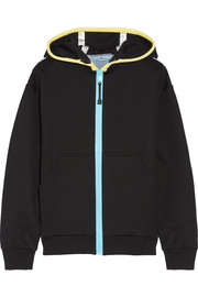 Prada Leather-trimmed cotton-blend jersey hooded top