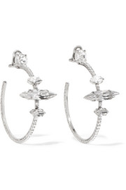 Silver-tone crystal clip earrings