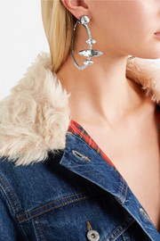 Miu Miu Silver-tone crystal clip earrings