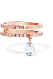 Diane Kordas 18-karat rose gold, topaz and diamond ring