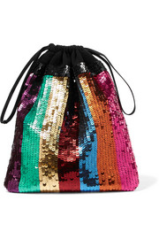 Attico Rosie striped sequined gauze clutch
