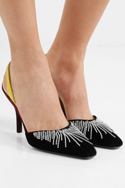 Mara embellished watersnake-trimmed velvet slingback pumps