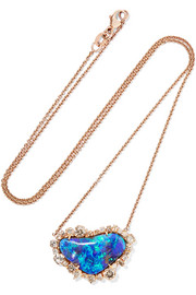 18-karat rose gold, opal and diamond necklace