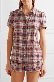 Amy plaid cotton-flannel pajama set