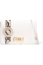 Miu Miu My Miu embellished watersnake-trimmed textured-leather shoulder bag