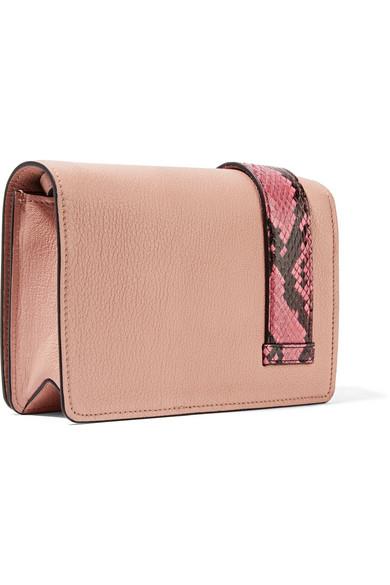 cbb7545ee8a7 My Miu embellished watersnake-trimmed textured-leather shoulder bag