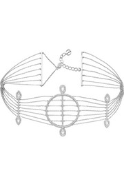 Sarah 18-karat white gold, diamond and mother-of-pearl choker