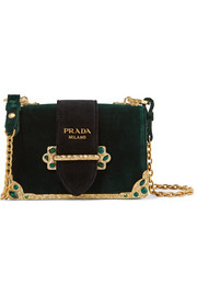 Cahier Box velvet shoulder bag