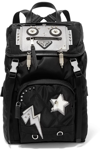 169ab3b7e0 Embellished leather-trimmed quilted shell backpack