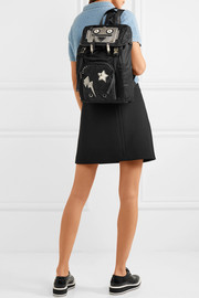 Prada Embellished leather-trimmed quilted shell backpack