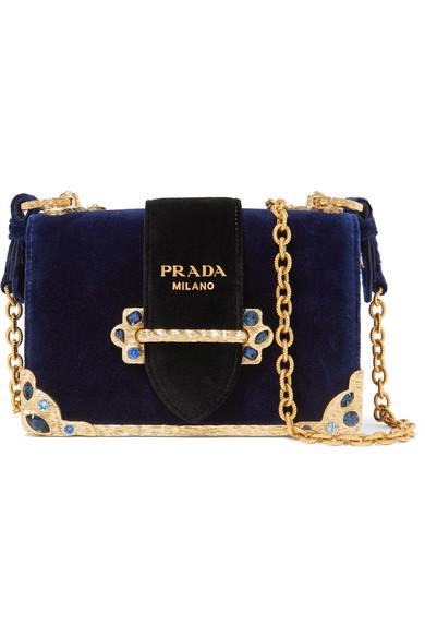 6698b2260f80 Prada - Cahier Crystal-embellished Velvet Shoulder Bag - Navy