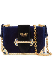 Prada Cahier crystal-embellished velvet shoulder bag