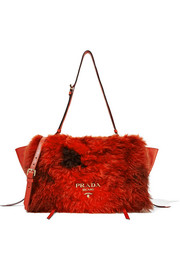 Prada Shearling and textured-leather shoulder bag