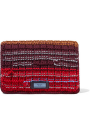 Crochet-knit clutch