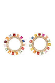 Sun 18-karat gold, diamond and sapphire earrings