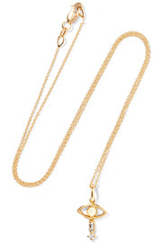 Ileana Makri Tiny Baguette Eye 18-karat gold, diamond and opal necklace
