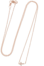Ileana Makri Mini Cross 18-karat rose gold diamond necklace