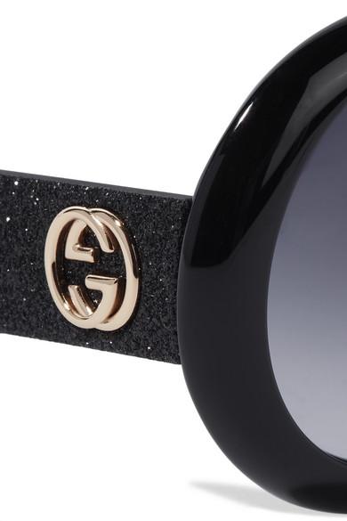 2e6395e0aa6 Gucci. Round-frame glittered acetate sunglasses.  400. Zoom In