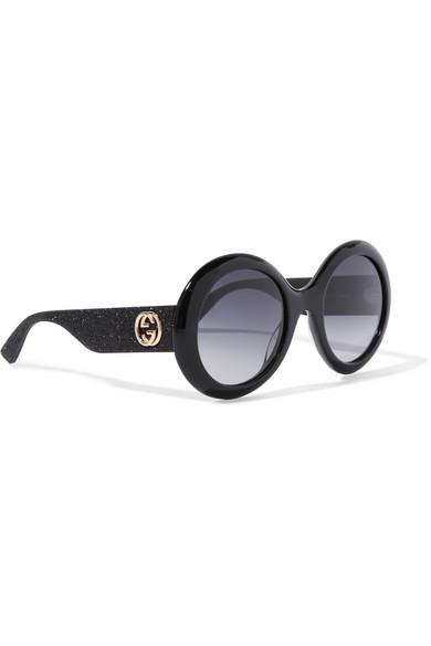 9e3c935d54 Gucci. Round-frame glittered acetate sunglasses