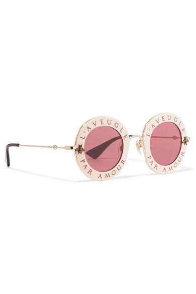 700c7e6ebfe Round-frame acetate and gold-tone sunglasses