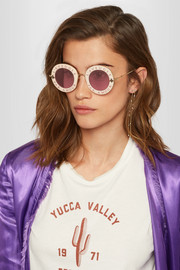 Gucci Round-frame acetate and gold-tone sunglasses