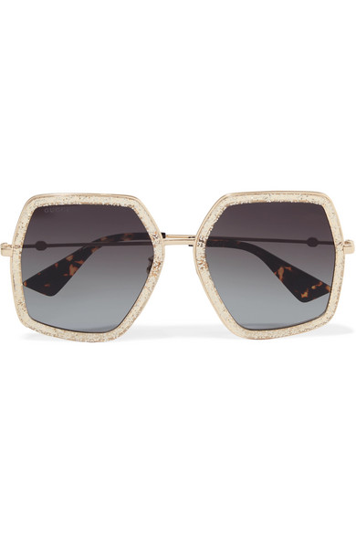 Glittered square-frame gold-tone sunglasses