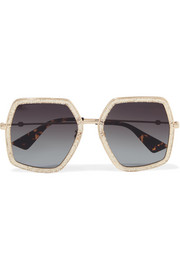 Gucci Glittered square-frame gold-tone sunglasses