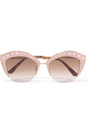 Gucci Crystal-embellished cat-eye gold-tone sunglasses