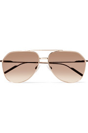 Aviator-style rose gold-plated mirrored sunglasses