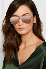 Dolce & Gabbana Aviator-style rose gold-tone mirrored sunglasses