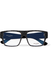 Saint Laurent Square-frame glittered acetate optical glasses
