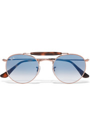Round-frame rose gold-tone and acetate sunglasses