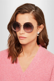 Miu Miu Round-frame glittered acetate and gold-tone sunglasses