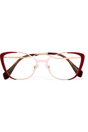 Miu Miu Cat-eye enamelled gold-tone optical glasses