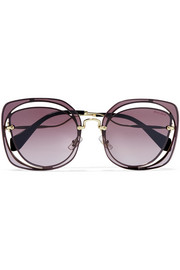 Miu Miu Cutout square-frame gold-tone sunglasses