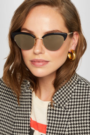 Pixie cat-eye gold-tone and acetate sunglasses