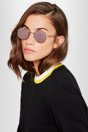Fabio hexagon-frame gold-tone and acetate mirrored sunglasses