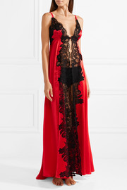 Madame Shehu lace-paneled silk-satin nightdress