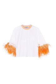 Prada Feather-trimmed cotton-jersey T-shirt