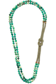 Rosantica Comando chrysoprase, woven and gold-tone necklace