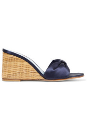 Wicker Wedge satin sandals