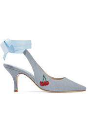 Kitten Heel embellished linen pumps