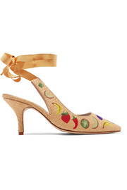 Kitten Heel embroidered raffia pumps