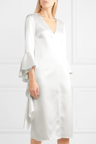 Ellery Kleid aus glänzendem Crêpe mit Volants