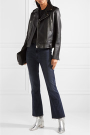 Mother Hustler cropped frayed high-rise flared jeans