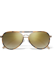 Aviator-style acetate and gold-tone mirrored sunglasses