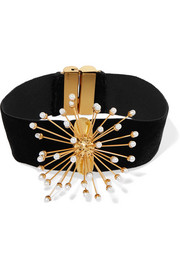 Rainbow Wheels velvet, gold-plated and pearl choker